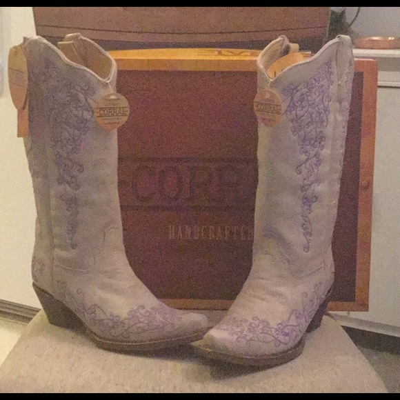 Size 9 Purple And White Cowboy Boots